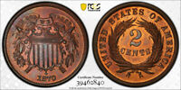 1870 2C Two Cent Piece PCGS PR 64 RB Proof Red Brown Low Mintage Type