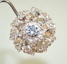 ORECCHINI a CLIPS donna ARGENTO a bottone cristalli strass eleganti sposa BB16