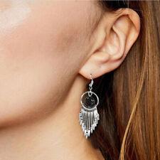 Women Stylish Black Wild Long Tassel Stud Earrings Silver Tone Jewelry Gifts SH