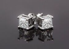 925 Sterling Silver Simulated Brilliant Princess Diamond Equiv To 1.2 Carat Each