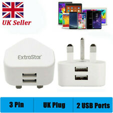 Dual Port USB Charger 3 Pin UK Mains Wall Plug Adapter for Phones Tablets