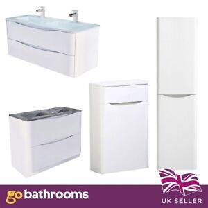 Eaton White Gloss Bathroom Vanity Unit Storage Unit Sink Bathroom Suite