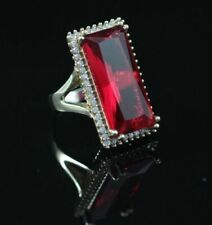 Turkish Handmade Ruby Sterling Silver 925k and Bronz Ring Size 6 7 8 9