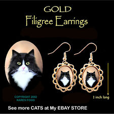 Tuxedo Longhair Cat Black and White - Gold Filigree Earrings Jewelry