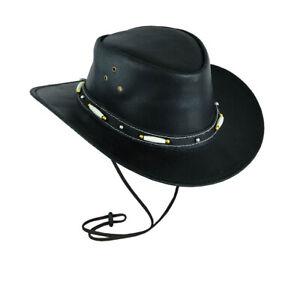 Australian Style Black Classic Western Style Cowboy Leather Hat