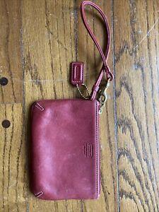 Coach Burgundy Red Leather Wristlet Purse