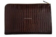 Deluxe New Brown Croc Print Real Leather Under Arm Folder Document Holder Case