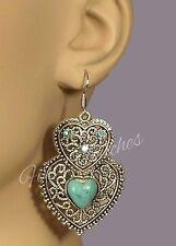Double Heart Earrings Tibetan Silver Turquoise Crystal Hook Fasten Drop Dangle