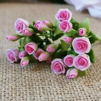 Sweet Pea Flowers 6 Colorful Bunches Clay Miniature Dollhouse Flower Bouquets
