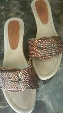 Dr. Scholl's leather wedge platform Swarovski Crystal sandals  size 8