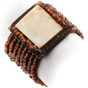 MOTHER OF PEARL COCONUT SHELL BRONZE BEADS bracelet