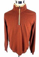 Paul & Shark Yachting L Large Burnt Orange Pullover 1/2 Zip Sweater Elbow Wool