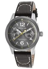 New Ladies Invicta 14144 I-Force Charcoal Grey Dial Day Date Black Leather Watch