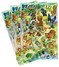 3 Sheets Adorable FOREST Animals Stickers! Raccoon Skunk Squirrel Deer Duck