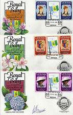 BEQUIA 1982 BIRTH OF PRINCE WILLIAM SET 3 TAB GUTTER PAIRS 3 FIRST DAY COVERS