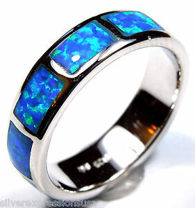Blue Fire Opal Inlay 925 Sterling Silver Eternity Men's or Woman's Band Ring