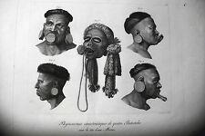 BRASILIEN,BOTOCUDES radierung original 1822,Wilden LIPPEN HOLZBLASINSTRUMENT,