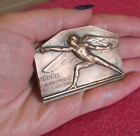 ARCHANGEL MICHAEL SPLENDID FENCING FRENCH ART DECO MEDAL CLEMENCIN