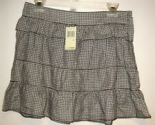 Size 6 Max Studio Black & White + Plaid 2  Layers Skirt Side Zipper NEW NWT $78