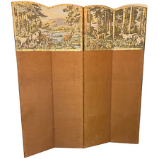 More details for victorian 4 panelled sporting hunting dogs deers tapestry room extending divider