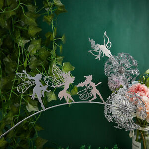Garden Decorative Stake Fairies Dandelions Dance Together Metal Garden Yard ~sf