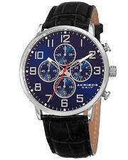 AKRIBOS XXIV AK854SSBU MEN'S BLUE DIAL SILVER TONE CHRONOGRAPH WATCH. BRAND NEW