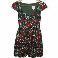 Mod Cloth Fit & Flare Dress Green Red Poppies Floral Cap Sleeve Sz XS Sweetheart