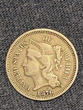 1876 Three Cent Nickel Vf Circulated Coin Scarce. Please see other auctions!