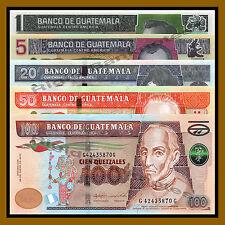 Guatemala 1 5 20 50 100 Quetzal (5 Pcs Set), 2012-2015 P-115/122/124/125/126 Unc