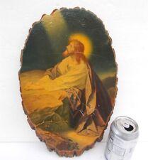 Rustic Bark Wall Plaque Jesus Christ Praying In Garden Souvenir Winks Sky Top Pa