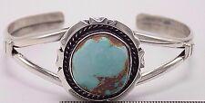 Navajo Handmade Royston Turquoise Bracelet Set In Sterling Silver-  Augustine L