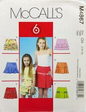 Girls Skirt Sewing Pattern M4867 Size 7 8 10 McCalls Easy