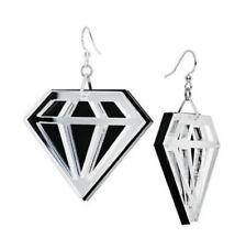BLING DIAMOND SHAPE EARRINGS~Large Mirror~Statement~Dangle~Laser Cut Acrylic