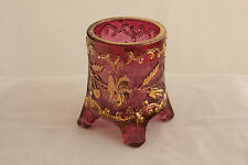 US GLASS ROSE / AMETHYST COLOR STAIN BOHEMIAN CRYSTAL TOOTHPICK HOLDER EAPG