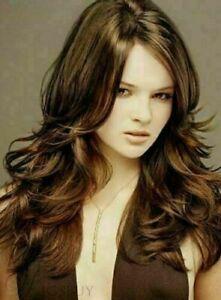 100% Human Hair New Fashion Gorgeous Fluffy Long Dark Brown Wavy Women's Wigs