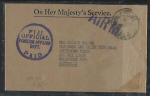 FIJI ISLANDS COVER (P0212B) 1983  OFFICIAL OHMS FOREIGN AFFAIRS COVER TO AUSTRAL