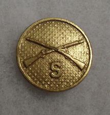 "1930'S Type Ii Infantry ""S"" Below Em Collar Brass Screw Back"