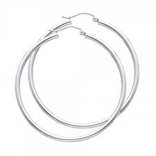"14K Solid White Gold 2mm Plain Hoop Earrings 45mm 1.7"" Snap Closure"