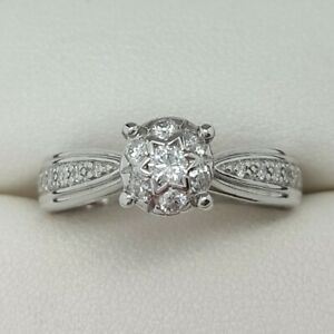 Diamond Set Ring In 14ct White Gold 0.20ct Finger Size L