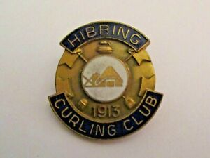 OLD HIBBING MINNESOTA 1913 CURLING CLUB SPORTS PIN > IRON RANGE CURLING MUST <