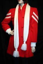 S Vtg 80s STADIUM Coat Red Cream Stripe w/Scarf Puff SLeeve Zip Up Lining