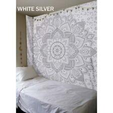 Mandala Tapestry White Silver Print Wall Hanging Decor Bohemian Boho Queen Size
