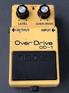 Vintage 1981 Boss OD-1 Overdrive Pedal Made in Japan Black Label Long Dash