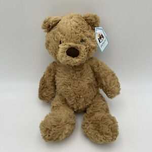 """NEW Jellycat London Small Bumbly Bear 12"""" Stuffed Plush Soft Toy Brown Shaggy"""