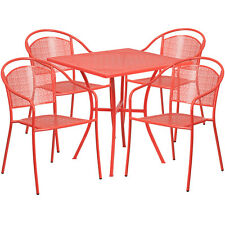 28'' Square Coral Indoor-Outdoor Patio Resturant Table Set w/4 Round Back Chairs