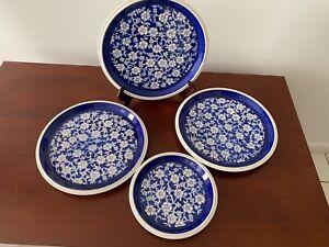 MIKASA CALICO DINNER & SALAD PLATE  BLUE & WHITE FLOWER PRINT  EXCELLENT