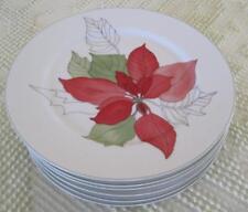 "Six 1982 Block Spal Watercolors Poinsettia 7 7/8"" Plates by Mary Lou Goertzen"