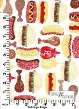 Ketchup and Mustard Picnic Fabric F973 Michael Miller BY THE HALF YARD