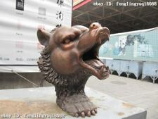 """12"""" Chinese Folk refined Pure Red Bronze Bear Head statue"""