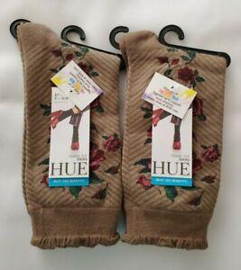 Hue Women's 2 Pair Solid Femme Top Sock Cinnaberry Herringbone Floral